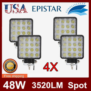 4x 48w Led Work Light Spot Driving Fit Offroad Tractor Fogs Truck Square 3520lm