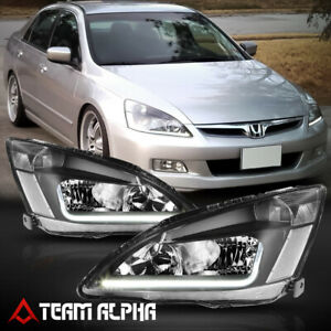 Fits 2003 2007 Honda Accord led L bar Drl Black clear Corner Headlight Lamp