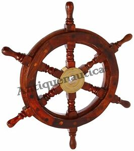 18 Inch Wooden Ship Wheel Boat Steering Brass Vintage Nautical Pirate Captain