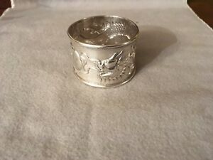 Antique Chinese Export Solid Sterling Silver Napkin Ring Dragon 90 Kms China