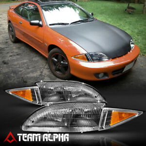 Fits 1995 1999 Chevy Cavalier black clear Amber Corner Headlight Headlamp Lamp