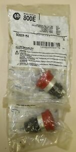 2 Pcs Allen Bradley 800em m4 Mushroom Push Button Red