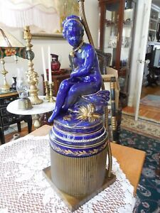 Vintage Figural Cobalt Ceramic And Brass Table Lamp
