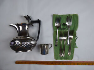 Lot Silver Plate 8 Pieces Deco Coffee Pot Meat Forks Baby Cup More