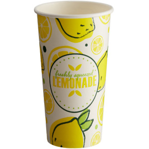 1000 Case With Lid 16 Oz Paper Lemonade Lemon Print Cup Concession Stand Small