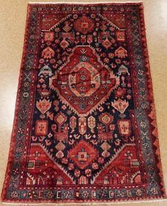 Persian Rug Nahavand Tribal Hand Knotted Wool Navy Red Oriental 4 10 X 7 6