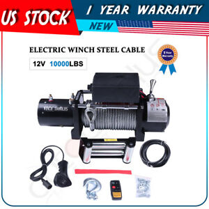 10000lbs Electric Recovery Winch 8 8mm 24m Cable Offroad For Ford 12v Waterproof