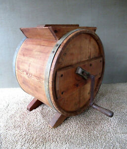Antique Butter Churn New Style Richmond Cedar Works Wood Vintage Lid Crank