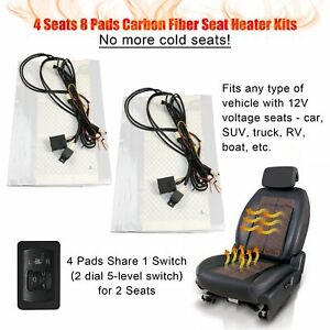 Universal Car Seat Heated Kit 5 level Switch Seat Heater Kit For 2 Seats 4 Seats