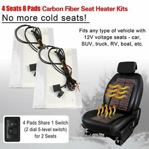 Universal Carbon Fiber Seat Heater 4 8 Pads With 2 Dial 5 Level Switch 2 4 Seats
