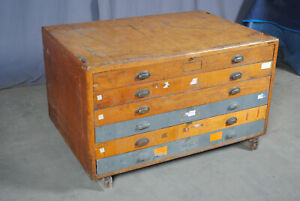 Large Oak Maple Pine Map Chest Flat File Cabinet 6 Drawer Excellent Sturdy
