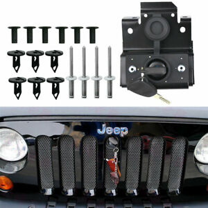Security Hood Lock Kit Engine Anti Theft Assembly For Jeep Wrangler Jk 2007 2018