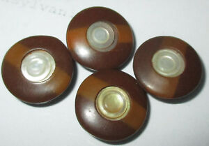 Set 4 Antique Victorian Celluloid Buttons W Inset Mother Of Pearl Mop Shell
