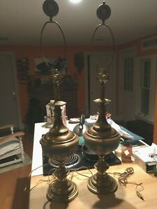 Wedgwood Jasperware Huge 38 X 9 Pale Blue Pair Of Working Brass Lamps Nice