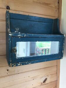 Antique Primitive Small Mirrored Wood Wall Mounted Medicine Bath Cabinet