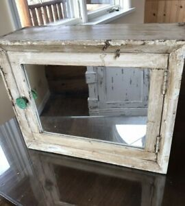 Antique Primitive Wood Mirrored Wall Mounted Medicine Bath Cabinet