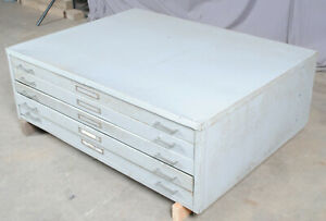 Gray Steel Map Chest Flat File Cabinet 5 Drawer Sleek Industrial Style 17 h
