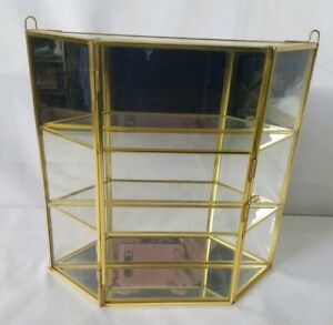 Vintage Brass Glass Mirrored Display Case Curio Cabinet Table Top Or Wall Hang