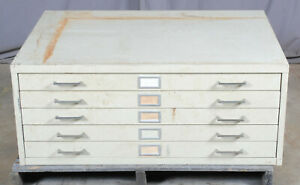 White Steel Map Chest Flat File Cabinet 5 Drawer Sleek Industrial Style 2 Avail