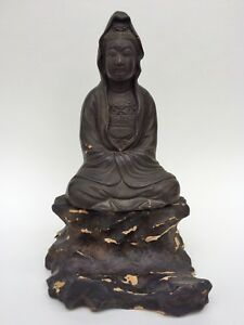 Antique Museum Quality Ming Dynasty Chinese Carved Wood Lacquer Guanyin Buddha