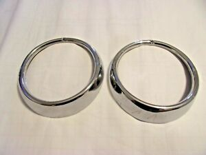 Vw Bug Karmann Ghia Hella Headlight Ring Pair 1956 1964 Coupe Or Convertible