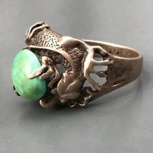 Vtg Chinese Sterling Silver Signed Blue Green Turquoise Dragon Ring 9 1 2 10
