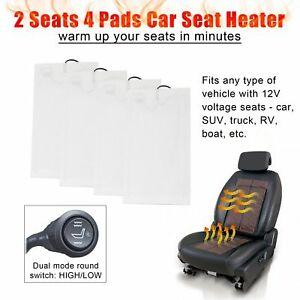 Hi off lo Round Switch Car Seat Heater 4 Pads Heated Seat Kit Fits 12v Cars