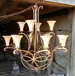 Large Oversize 12 Arm Mid Century Classical Scrolled Arm Wrought Iron Chandelier