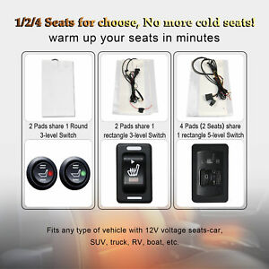 Car Seat Heater Kit Carbon Fiber Universal 5 Level Heated Cushion Warmer