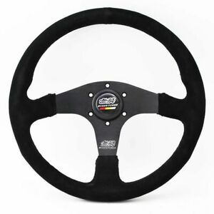 14in 350mm Honda Mugen Power Style Black Suede Leather Jdm Racing Steering Wheel