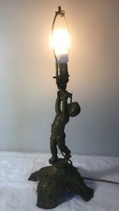 Antique Gilt Bronze Cherub Lamp On Gilt Metal Base