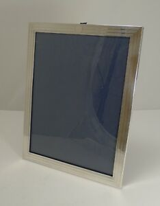 Large English Art Deco Sterling Silver Photograph Frame Engine Turned