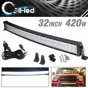 32 Inch Led Light Bar Curved Spot Flood Backup Driving For Jeep Atv 420w wiring
