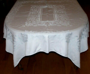 Vintage Double Damask Tablecloth Powder Blue 70 Long Scrolling Design C1930