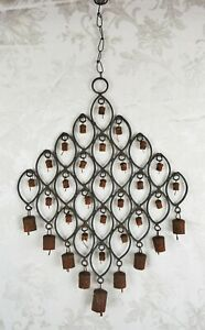 Antique Wrought Iron Bells Wind Chime Primitive Country Farmhouse Decor