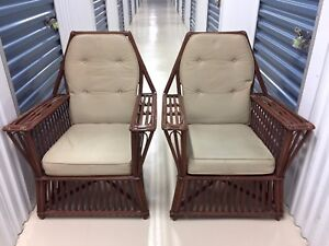 Antique Mid Century Modern Rattan Chairs Circa 1950 Pair