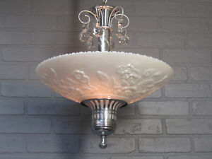 Vintage Antique Art Deco Chandelier Carnival Glass Slip Shade Chrome Fixture