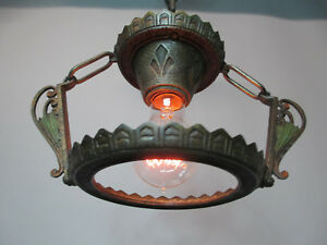 Vintage Antique Art Deco Arts Crafts Slip Shade Chandelier Orig Paint Rewired