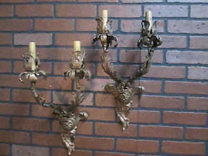 Vintage Antique French Wall Sconces Bronze Floral 2 Lights 19 1 2 Tall Stunning
