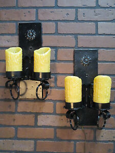 Vintage Antique Pair Gothic Spanish Revival Wall Sconce Lights Calif Monterey