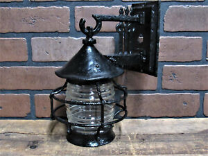 Vintage Antique Cast Iron Porch Light Craftsman Mission Bungalow Ul Listed 11 5