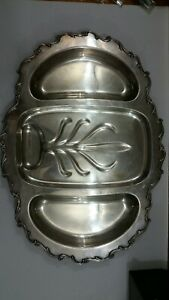 Wilcox International Silver Co Silverplated Large Footed Platter Tray
