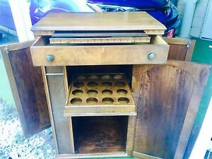 Vintage Sturdily Built Wood Wine Bar Cocktail Liquor Cabinet