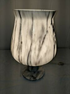 Gorgeous Vintage Carved Turned One Piece Marble Table Lamp Uplighter