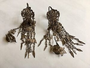 Antique Chinese Minority S Silver Wedding Earrings