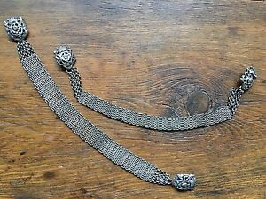 19th Cent Chinese Silver Braided Chain Of Ribbon Pair