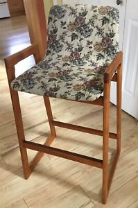 Vintage Mid Century Danish Modern Teak Bar Stool Brown Counter Height Chair