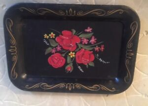 Vintage Black Cool Floral Tole Ware Mini Or Toy Tin Tray 6 5 8 X 4 5 8