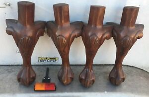 4 Beautiful Vtg Wood Furniture Table Bench Legs Carved Ball Claw Salvage 15 5