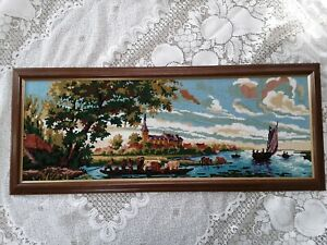 Vintage Embroidery Needlepoint Crewel Tapestries Framed Art Deco Crossstitch